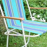 Vintage 1960s Folding Garden Chair - Striped - Turquoise