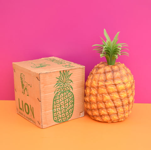 Vintage 1970s Boxed Pineapple Ice Bucket, Plastic - Orange