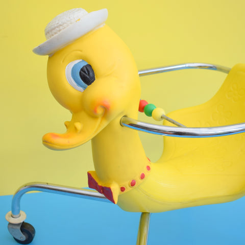 Vintage 1960s Kitsch Plastic / Chrome Mr Duck On Wheels - Canova Italy - Yellow & Chrome