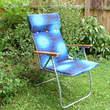 Vintage 1970s Reclining Garden Sun Chair / Lounger - Geometric Flower Power Print - Blue
