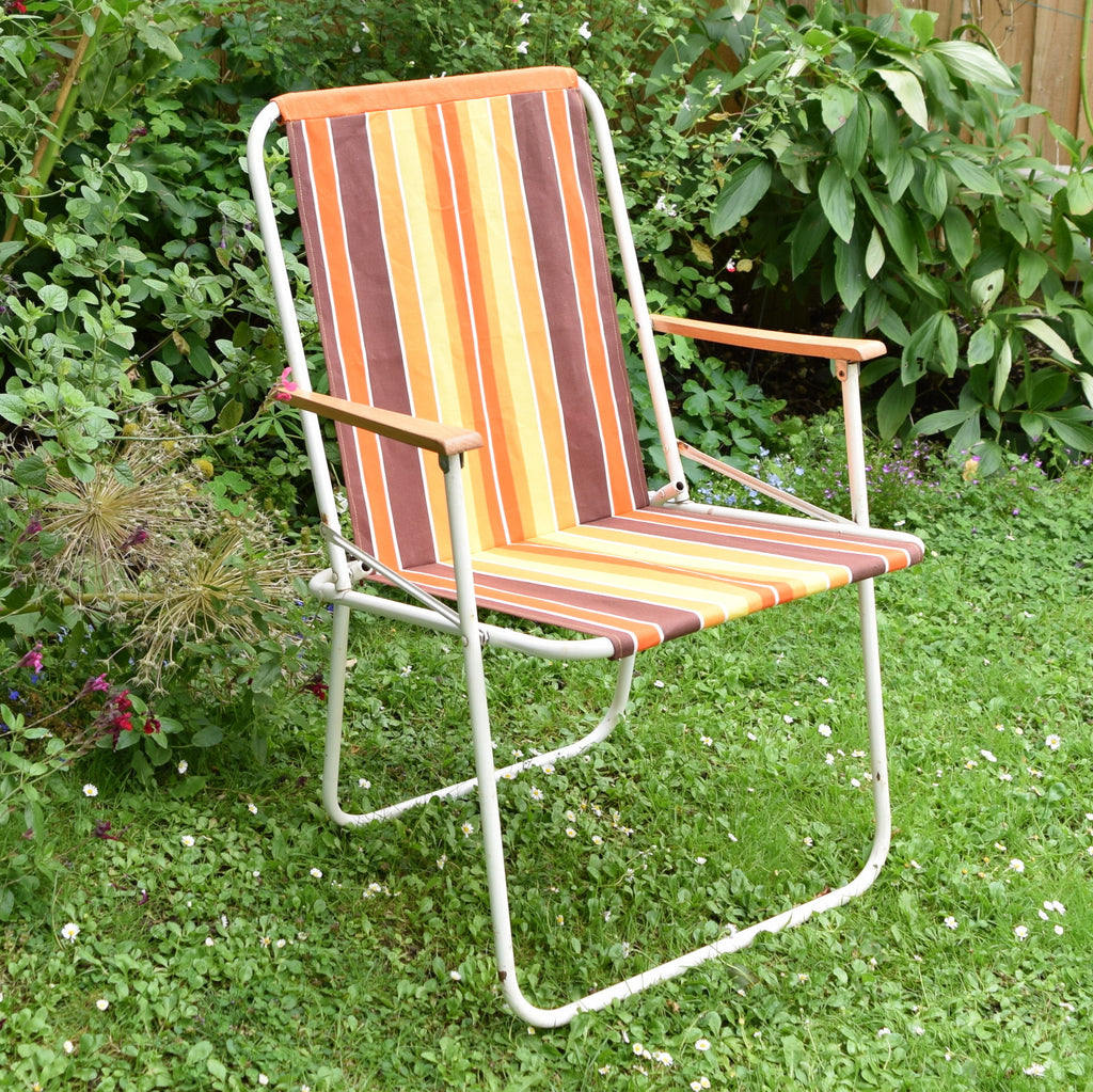 Vintage 1960s Folding Garden Chair Striped Canvas