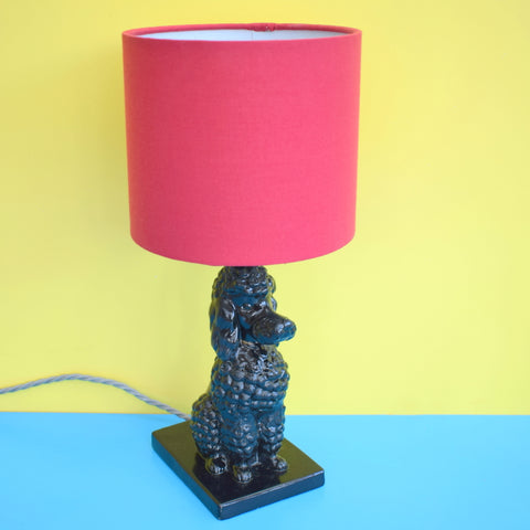 Vintage 1950s Ceramic Poodle Lamp & Shade - Black & Red