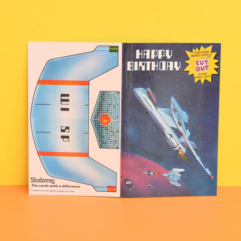 Vintage 1970s Greeting Card - Cut Out - Happy Birthday - Flying Space - Ship
