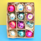 Vintage 1950s Hand Painted Medium Glass Christmas Baubles / Decorations - Pink / Purple / Blue / Silver (Boxed)