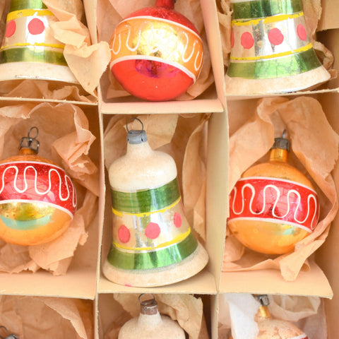 Vintage 1950s Hand Painted Medium Glass Christmas Baubles / Decorations (Bells) - Red / gold / Green (Boxed)