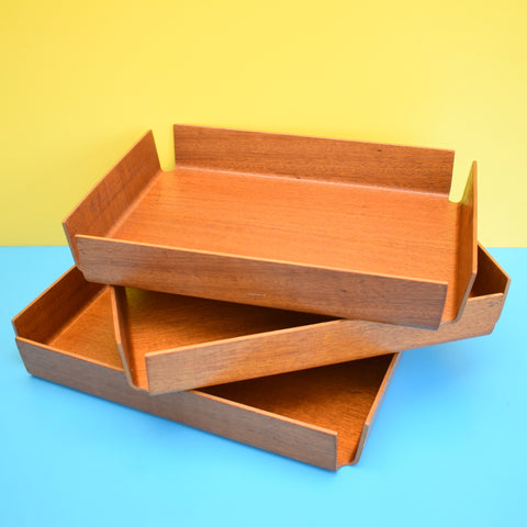 Vintage 1960s Bent Teak Plywood filing Desk Tray - Mallod x3