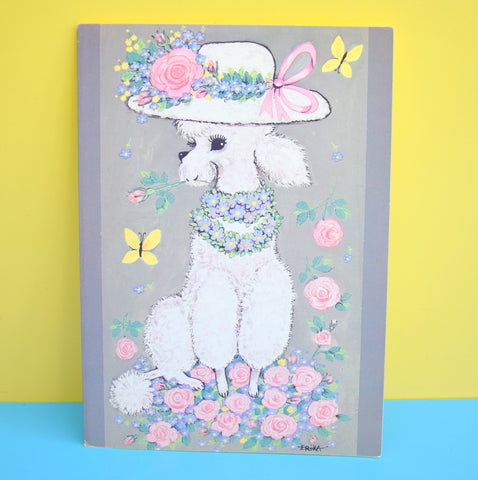 Vintage 1970s Greeting Card - by Erika - Best Wishes - Poodle
