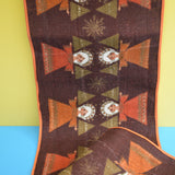 Vintage 1970s Kitsch Christmas Swedish Table Runner - Brown Angels