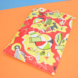 Vintage 1950s Vinyl bag or Inflatable Pillow - Red, Yellow Poodle Design