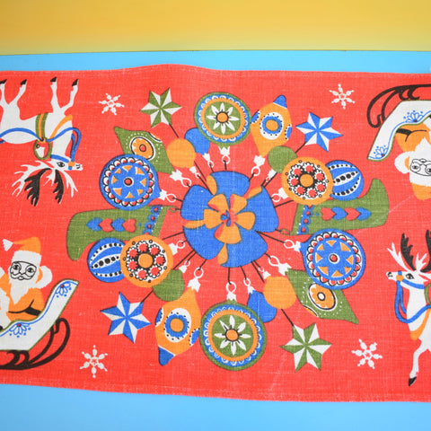 Vintage 1970s Kitsch Christmas Swedish Table Runner - Red With Santa & Reindeer