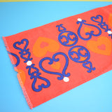 Vintage 1970s Kitsch Christmas Swedish Table Runner - Red With Orange Hearts