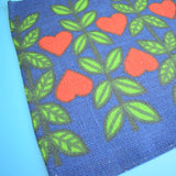 Vintage 1970s Kitsch Christmas Swedish Table Runner - Blue With Red Hearts