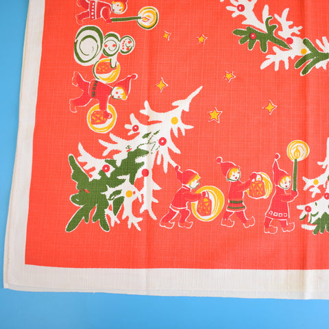 Vintage 1970s Kitsch Christmas Swedish Table Cloth - Square - Red & Green