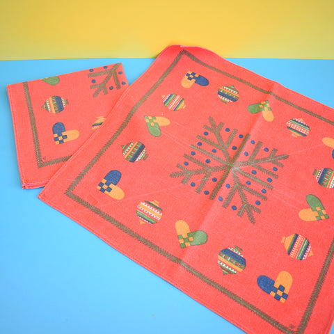 Vintage 1970s Kitsch Christmas Swedish Large Napkins / Table Centres x2 - Baubles