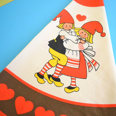 Vintage 1970s Kitsch Christmas Swedish Table Cloth - Large Square - Red Hearts