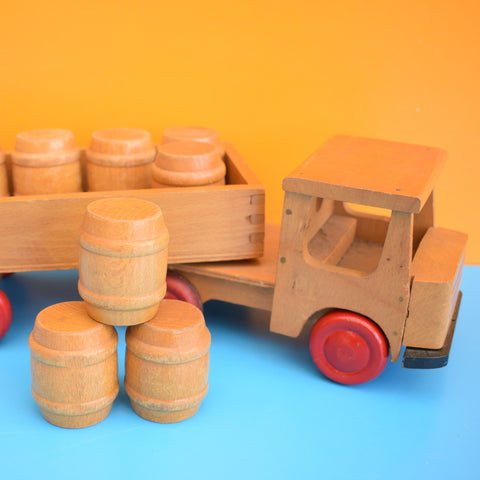 Vintage 1970s Wooden Barrel Lorry / Truck