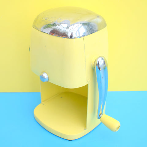 Vintage 1950s American Ice-O-Mat Ice Crusher Machine - Chrome & Lemon Yellow