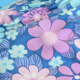 Vintage 1960s Curtains - Flower Power Barkcloth - Purple & Blue