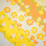Vintage 1970s Polythene / Flannel Backed Table Cloth - Flower Power & Strawberries - Orange / Yellow