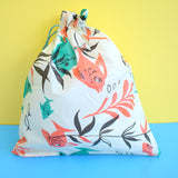 Vintage 1950s Vinyl Wash Bag / Storage Bag - Fish Design - Teal & Orange Red
