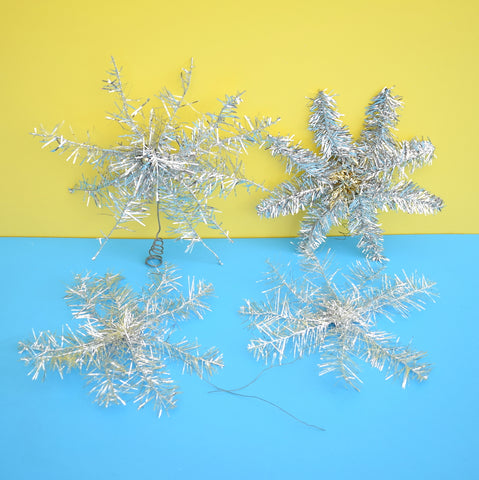 Vintage 1960s Tinsel Christmas Star Toppers - Silver