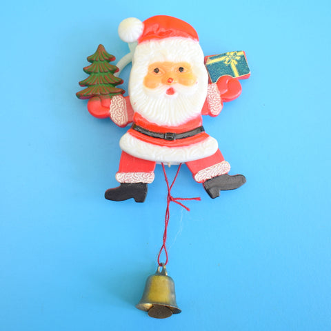 Vintage 1970s Plastic Santa Brooch - Moving Arms & Legs