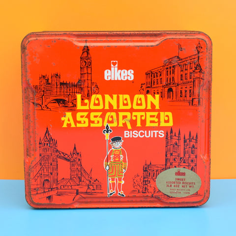 Vintage 1960s Metal Elkes Large Biscuit Tin - London Design .
