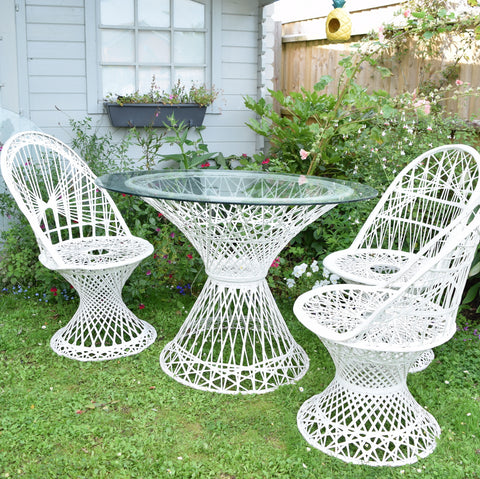 Vintage Fibreglass Strand Chairs & Table - Russell Woodard - White
