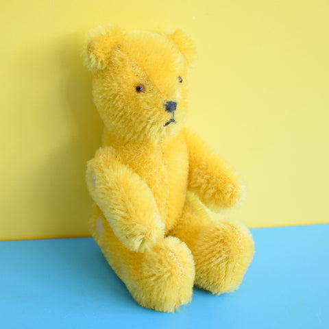 Vintage 1960s Tiny Joined Teddy Bear - Mohair Fur - Glass Eyes - Yellow