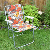Vintage 1960s Folding Garden Chair - Flower Power - Orange & Grey