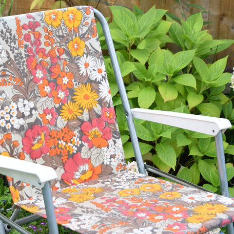 Vintage 1960s Folding Garden Chair - Flower Power - Orange, Red, Grey