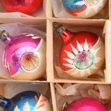 Vintage 1950s Hand Painted / Concave Small Glass Christmas Baubles / Decorations - Mixed (Boxed) .
