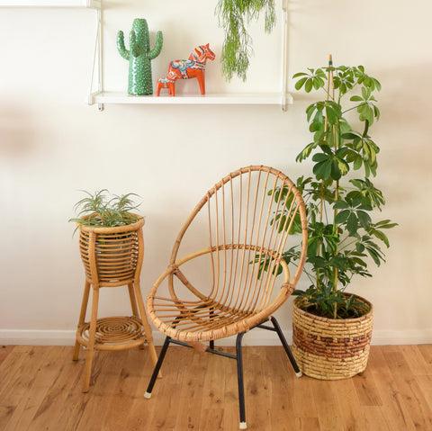 Vintage 1960s Bamboo & Metal Chair - Natural Finish