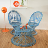 Vintage Fibreglass Strand Chair & Side Table - Russell Woodard - Blue