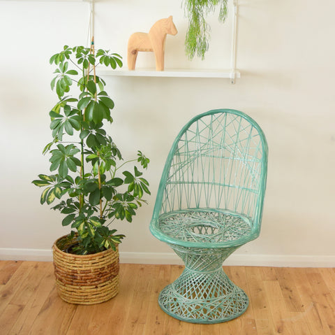 Vintage Fibreglass Strand Chair - Russell Woodard - Light Green