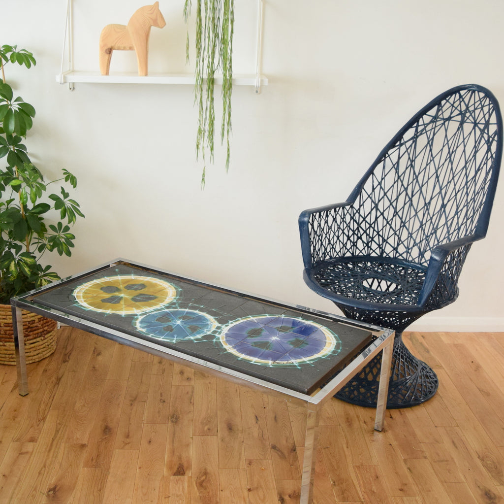 Vintage 1960s Tile Topped Coffee Table