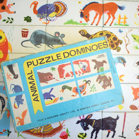 Vintage 1960s Paul And Marjorie Abbatt Ltd - Animal Puzzle Dominos