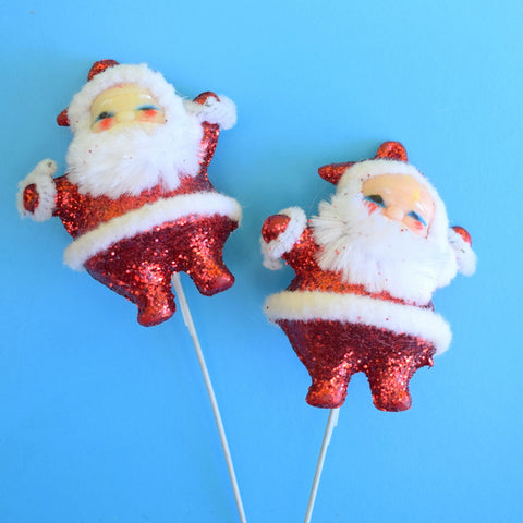 Vintage 1970s Kitsch Christmas Glitter Santa On Sticks x2 - Red