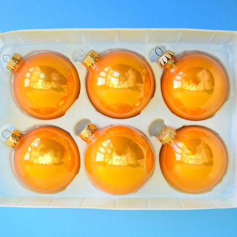 Vintage 1970s Medium Glass Christmas Baubles / Decorations - Orange / Gold