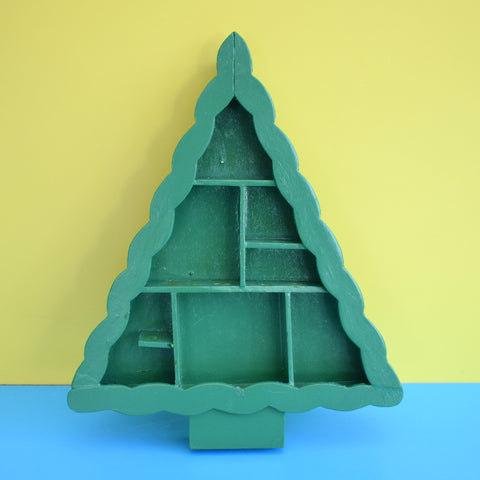 Vintage 1970s Wooden Christmas Tree Shaped Shelf Mini Collectables Green