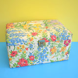 Vintage 1960s Large Sewing / Hobby Box - Pretty Flower Fabric - Blue , Green, Red , Yellow