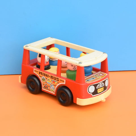 Vintage 1960s kitsch Plastic Fisher Price Mini Bus - Wooden People