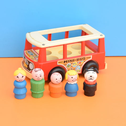 Vintage 1960s kitsch Plastic Fisher Price Mini Bus - Wooden People ...