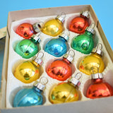 Vintage Small / Tiny 1970s Glass German Christmas Baubles / Decorations - Boxed