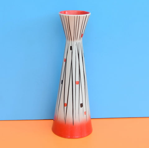 Vintage 1950s Waisted Ceramic Vase - Foreign - Red, Black