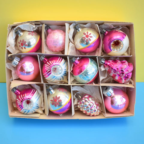 Vintage Mixed 1950s Small Glass Shaped / Concave Christmas Baubles / Decorations x 12 Boxed - Pink