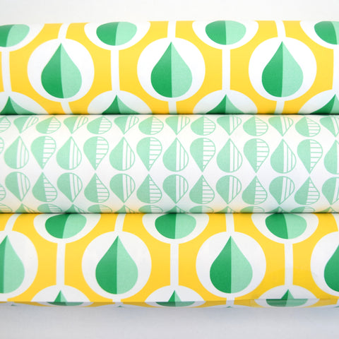 Retro Wrapping Paper from the Netherlands by Eva & Anna, mixed pack, Yellow, Green