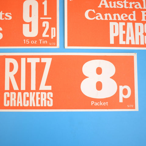 Vintage 1970s Retail Counter Signs - Food