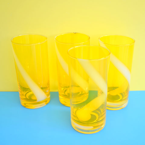 Vintage 1960s Quality Swirl Drinking Glasses - Sunny Yellow & White x4