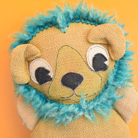 Vintage 1970s Small Hessian Lion - Character Crafts Ltd - Brown / Teal